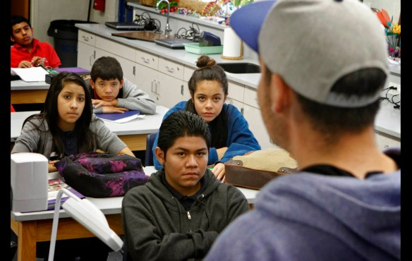 "Anaheim — Luis Luna talks to students at South Junior High School in Anaheim about his harrowing attempts to cross the Arizona desert and return home. ""They told me I was ready to die. I couldn't breath. I had a blank stare. The coyote said, 'I've seen this before, he's not going to make it .' """