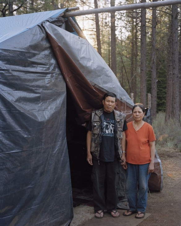 Phet and Pawn outside their shack at a camp near Sisters, Oregon, 2011.