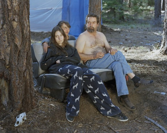 Morgan, Dawn, and Jon at their mushroom camp near Sisters, Oregon, 2011.