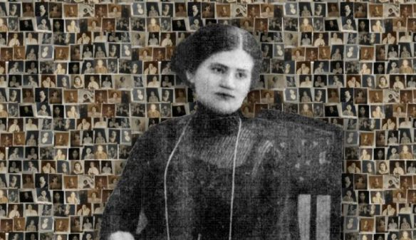 Raquel Liberman at age 19, against the background of a collage of photos of Jewish prostitutes in South America. Photo by Courtesy of Gabriela Böhm